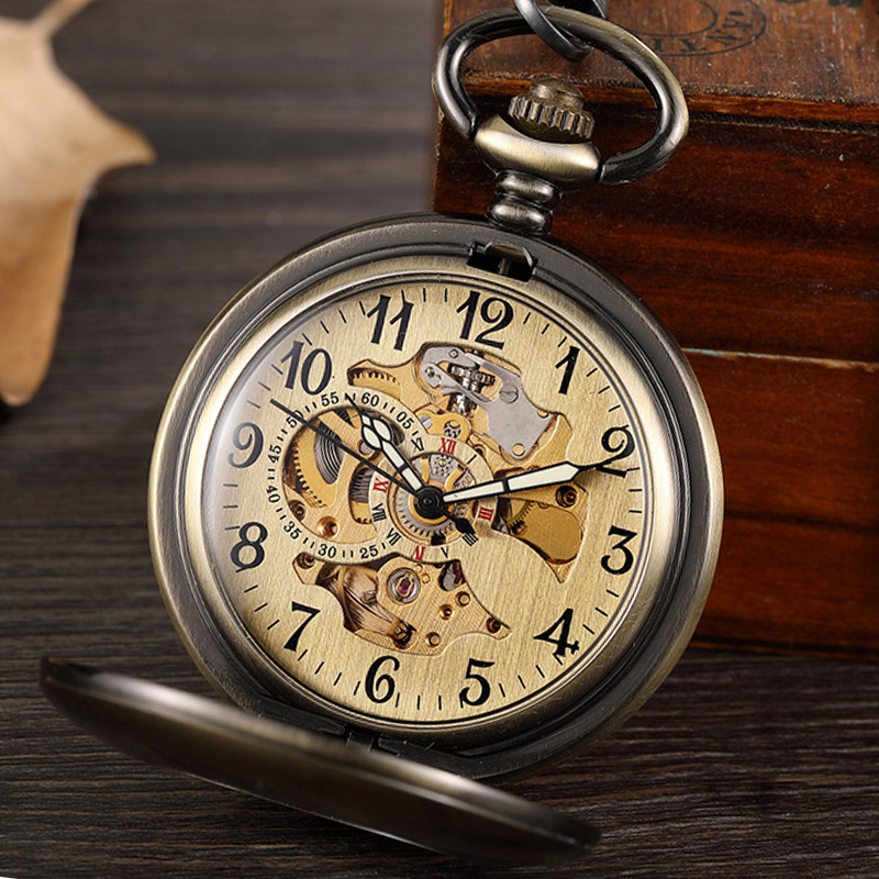 Vintage Bronze Skeleton Hand Wind Mechanical Pocket Watch Men Steampuk Pendant Clock Chain With Arabic Numerals