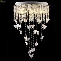 Modern Luxury Lustre De Cristal Foyer Led Pendant Light Creative Crystal Resin Flying Angel RGB Dimmable