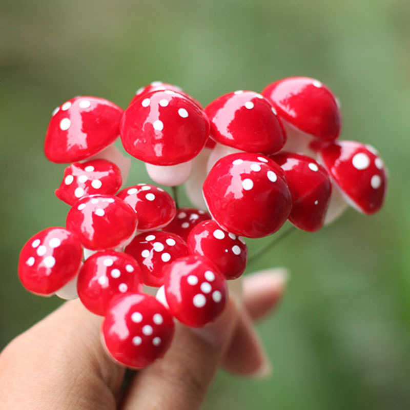 10pcs Mini Red Mushroom for Mini Plant Pots Fairy Decor Hot DIY Garden Dollhouse