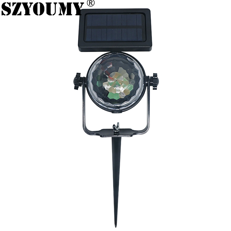 SZYOUMY LED Stage Light Color Crystal Ball Light Garden Light And Grounding Rod Solar 4V Party Garden Party Decoration Lamp