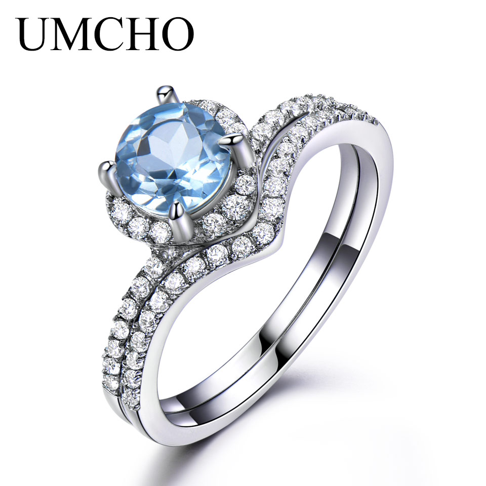 UMCHO Sky Blue Topaz Rings For Women Solid 925 Sterling Silver Engagement Anniversary Band Ring Set Gemstone Valentine's Gift