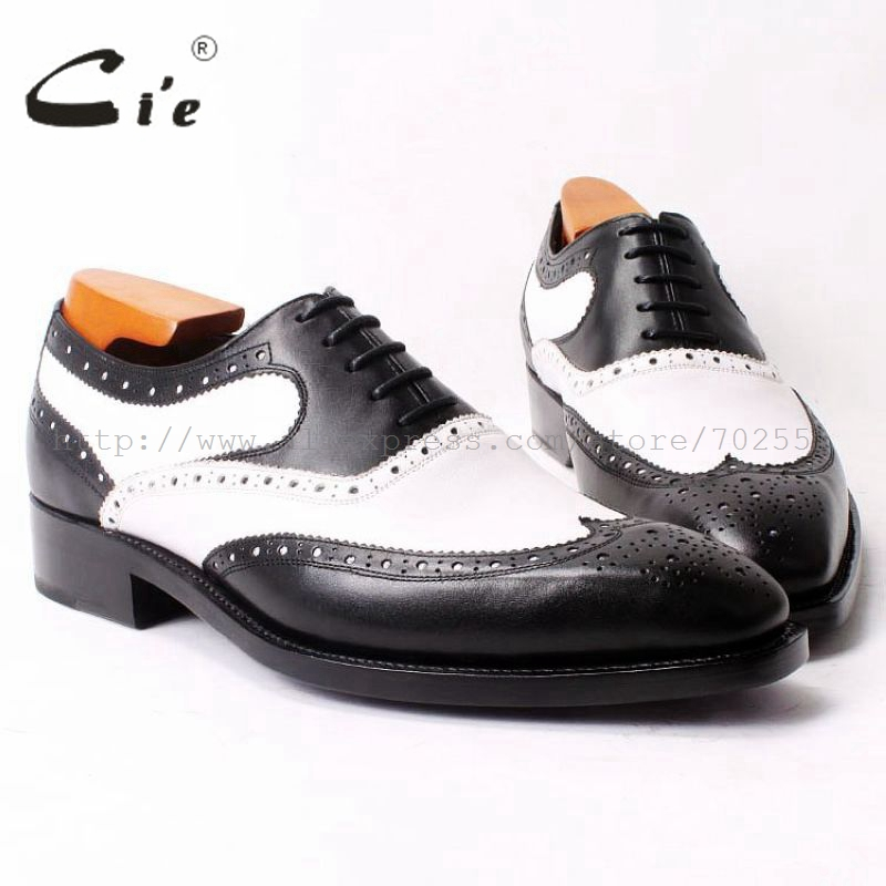 cie Square Toe Black/White Mixed Colors 100%Genuine Calf Leather Outsole Breathable Flat Goodyear Welted Men Handmade Shoe OX320 cie round toe wine black mixed colors patches shoe100