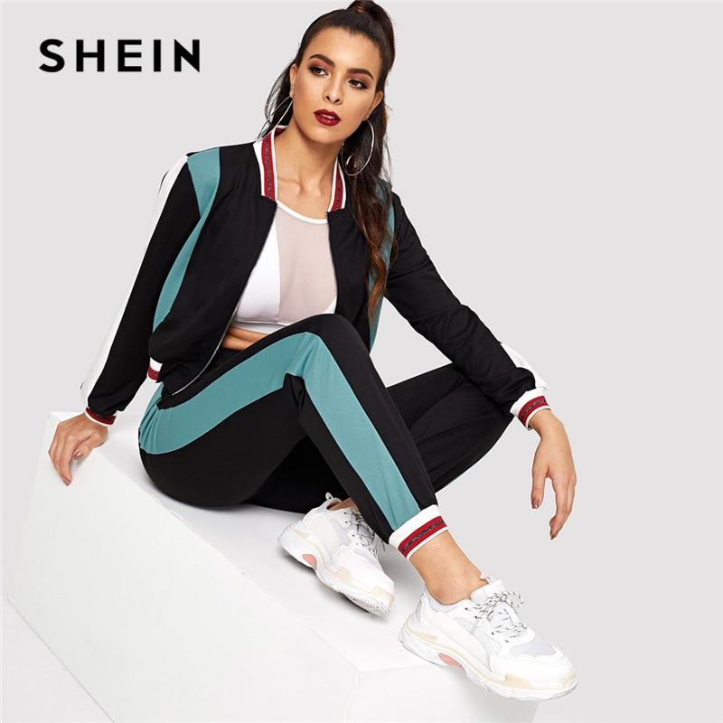 SHEIN Black Color Block O-Ring Zip Up Stand Collar Sweatshirt and Sweatpants Set Women Autumn Elegant Workwear Twopiece