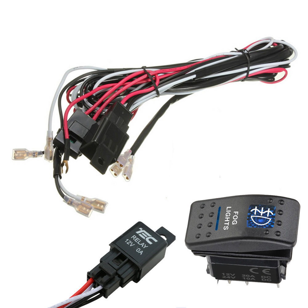 Ee Support 40a 12v Car Rocker Switch Relay Fuse Wiring Harness Kit A Light Led Fog Two Xy01