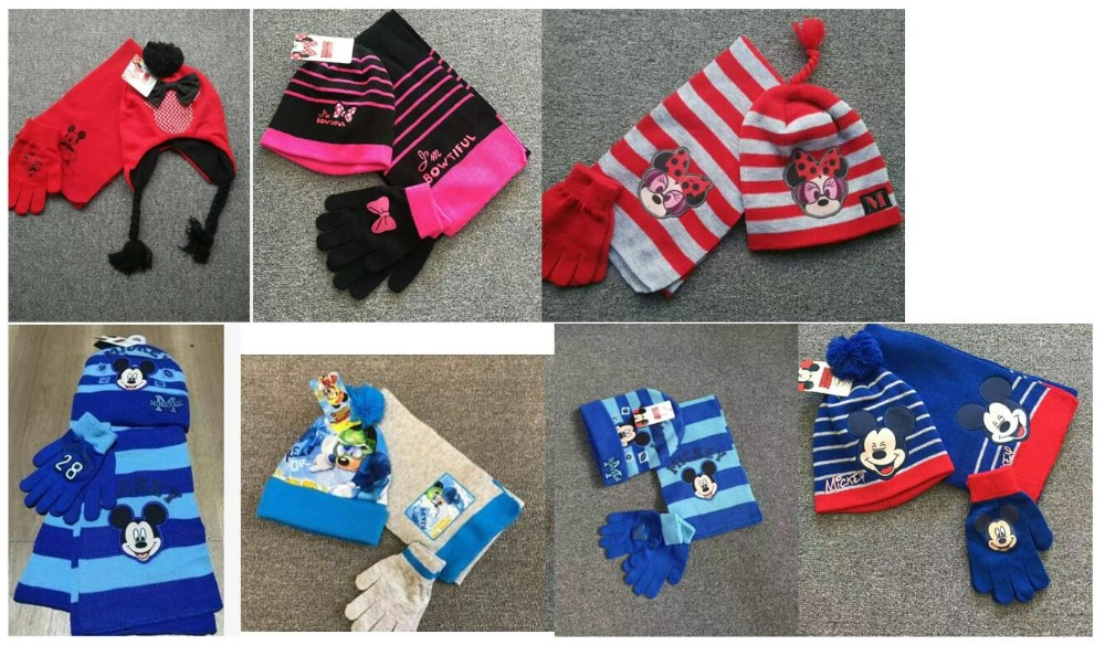 1set Cartoon Mickey Minnie Knit Beanie Hat Children Christmas Winter Knitted Scarf Gloves Hat Set Party Kids Gifts 2-8Y