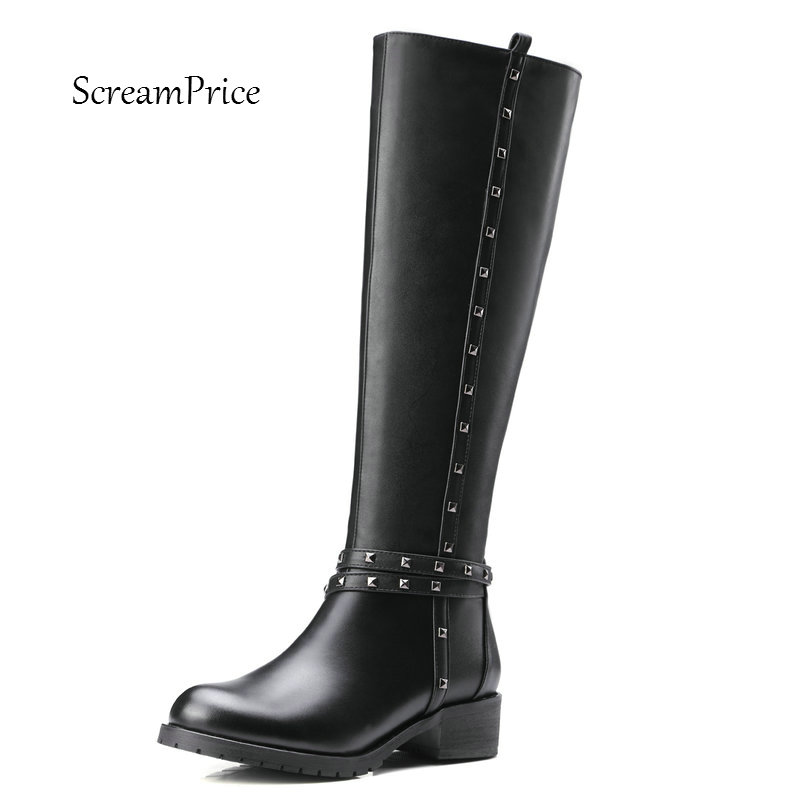 Women Genuine Leather Side Zipper Comfortable Square Heel Knee High Boots Fashion Round Toe Rivet Winter Shoes B nayiduyun new fashion thigh high boots women genuine leather round toe knee high boots high heel party pumps casual shoes