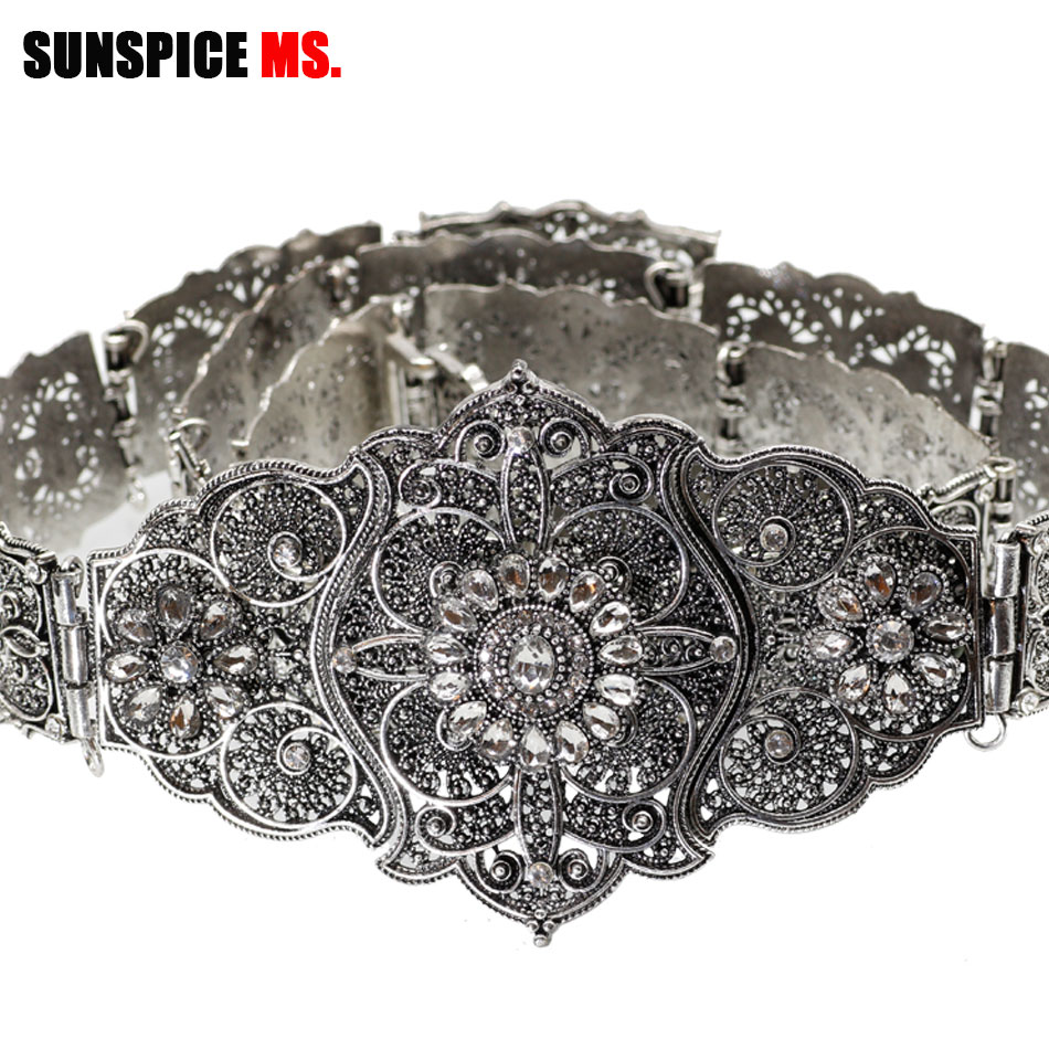 SUNSPICE-MS Vintage Wedding Belt Flower Sash For Women Antique Silver Color Adjustable Length Caftan Rhinestone Bridal Jewelry