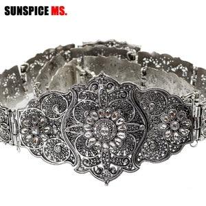 Image 1 - SUNSPICE MS Vintage Wedding Belt Flower Sash For Women Antique Silver Color Adjustable Length Caftan Rhinestone Bridal Jewelry