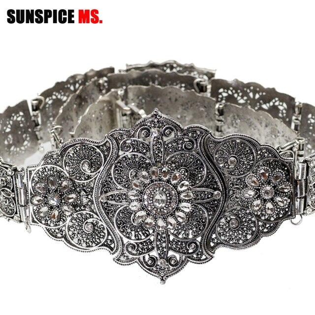 SUNSPICE MS Vintage Wedding Belt Flower Sash For Women Antique Silver Color Adjustable Length Caftan Rhinestone Bridal Jewelry