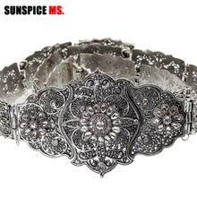 SUNSPICE MS cinto de casamento do vintage flor faixa para as mulheres antigo prata cor ajustável comprimento caftan strass nupcial jóias