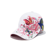 2015 New Fashion spring and summer butterfly embroidery Colorful flower women's sun-shading Baseball Cap Women Hip Hop Hat B308(China)