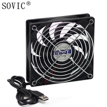 5V Brushless USB 12cm Mute Silent Fan Computer/PC Case Cooler Wireless router Cooling TV box Fan with Protective net