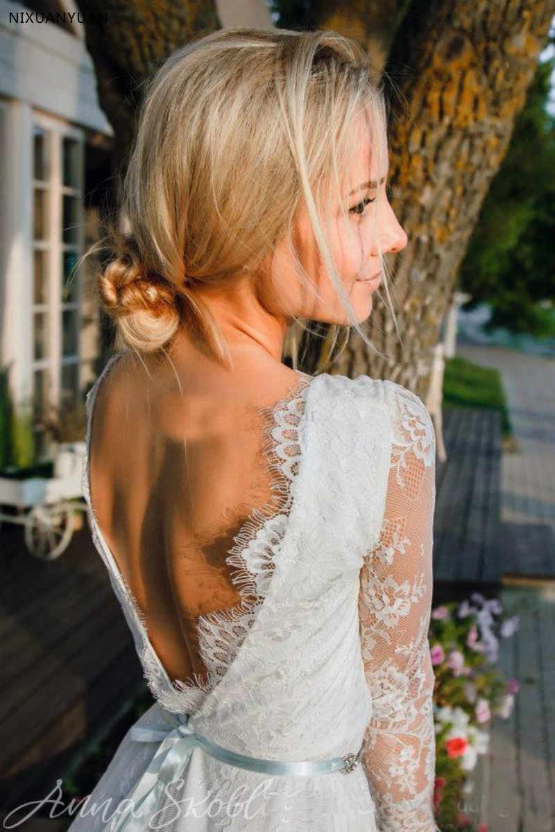 הכי חדש קצר חתונת שמלות עם אשליה ארוך שרוולים מלא תחרה V צוואר ללא משענת קיץ חוף כלה שמלות צד פורמלי ללבוש