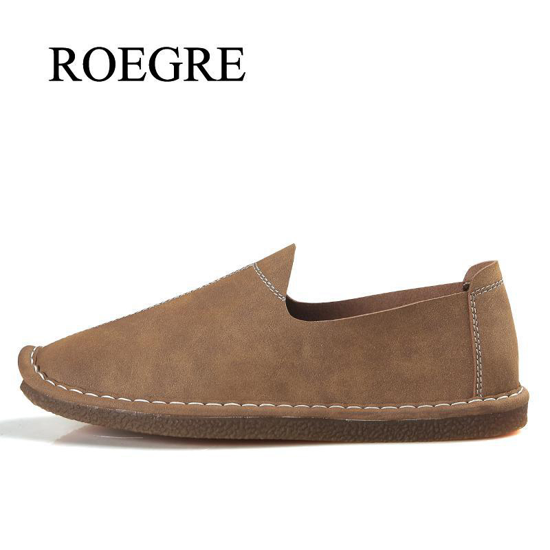 ROEGRE Brand Men Shoes Genuine leather casual shoes men comfortable loafers brand men shoes soft breathable flats driving shoes split leather dot men casual shoes moccasins soft bottom brand designer footwear flats loafers comfortable driving shoes rmc 395