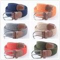 (1 unids/lote) color puro cinturones tejidos con hombres y damas moda correa de cintura elástica telescópica de alta calidad tiene el temperamento