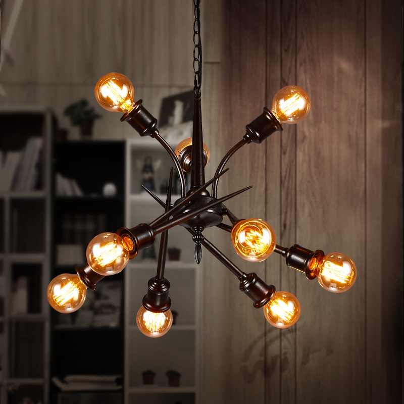 IWHD 9 Heads Pending Lighting Fixtures Living Room Style Loft Vintage Industrial Pendsnt Lights Iron Retro Lamp Bar Cafe Lampara iwhd style loft industrial vintage lighting hanging lamp led cement rotro light fixtures bedroom living room kitchen lampara
