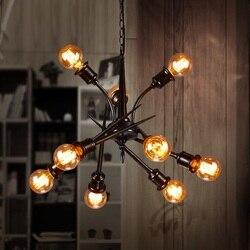 IWHD 9 głowice oświetlenie oświetlenie oprawy oświetleniowe salon w stylu Loft rocznik przemysłowych Pendsnt światła żelaza lampa retro Bar Cafe Lampara