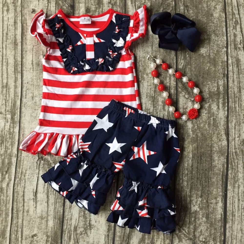 summer baby girls suit kids wear boutique clothes ruffles shorts sets red star Starry sky striped cotton matching accessories 2016 summer baby child girls outfits ruffles shorts white striped watermelon boutique ruffles clothes kids matching headband set