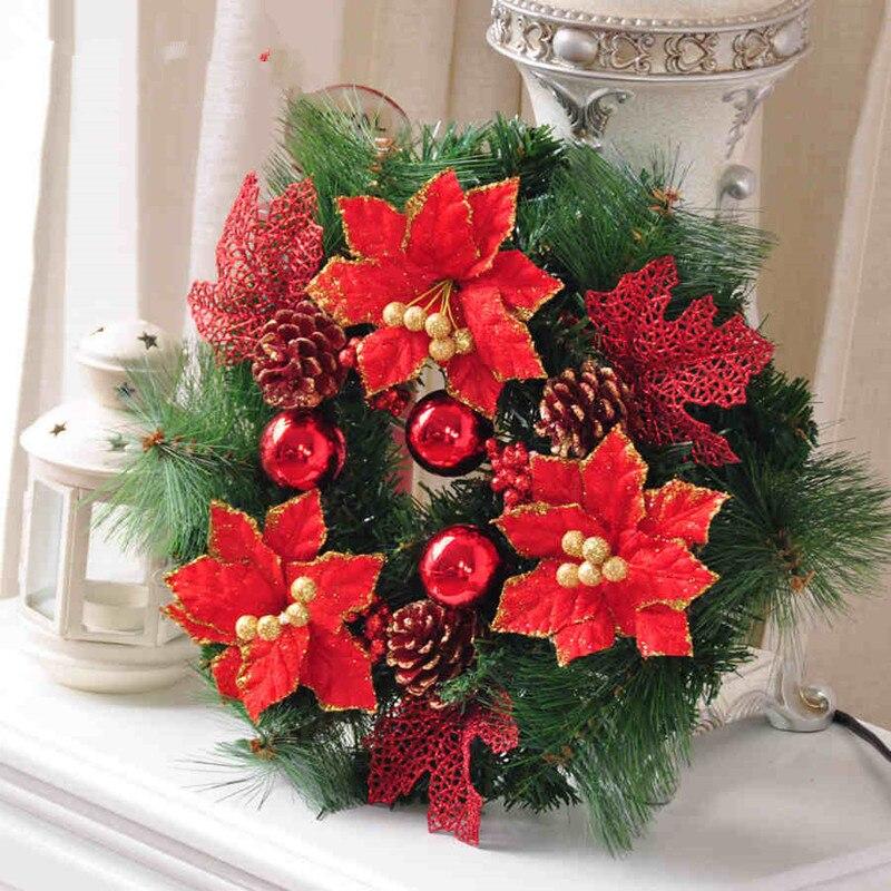 Nuovo 30 cm rifornimenti di natale decorazione in oro anello fiore muro decorazioni natalizie 0 - Decorazioni natalizie per porte e finestre ...