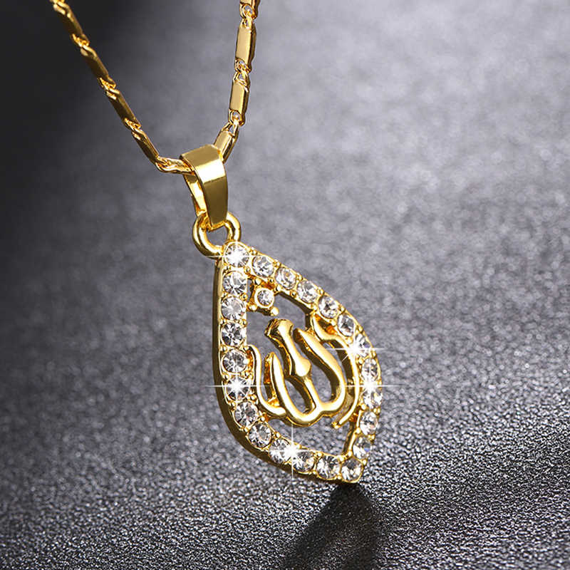 SONYA Gold/Silver/Rose gold Colors Allah Pendant Necklace Women Men Jewelry Middle East/Muslim/Islamic Arab Ahmed DZ119MSL