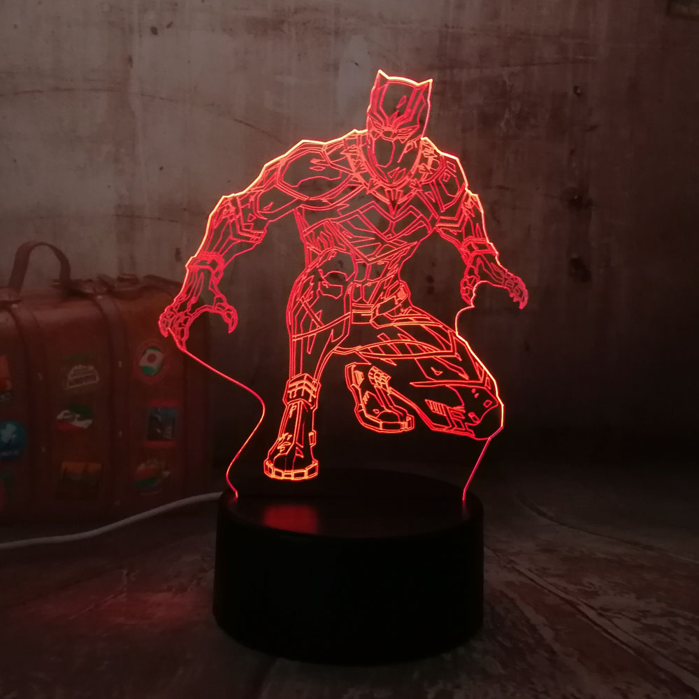 Night Light Cool Black Panther Marvel Hero 3D LED RGB 7 Color Change Desk Lamp USB for Child Kids Boy Gift Christmas Home DecroNight Light Cool Black Panther Marvel Hero 3D LED RGB 7 Color Change Desk Lamp USB for Child Kids Boy Gift Christmas Home Decro