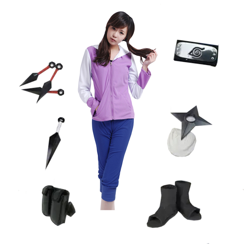 Brdwn Naruto Women's Konoha Hyuga Hinata 2nd Generation Cosplay Suit Halloween Costume (suit+shoes+Accessories)