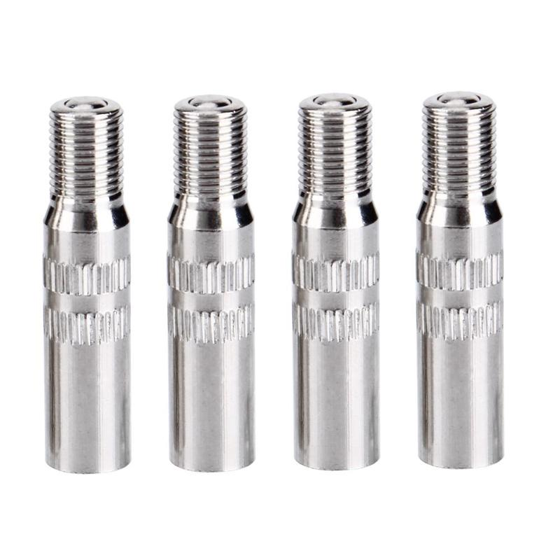 Universal 4pcs Metal Silver Car Truck Front And Rear Wheel Tyre Tire Valve Caps Stem Extension Extenders Auto Accessories