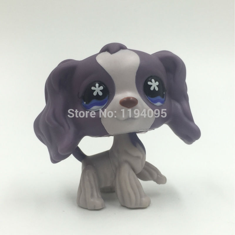 pet shop toys Dog#672 White Brown spaniel lovley Puppy Figure Free shipping pet shop toys dachshund 932 bronw sausage dog star pink eyes