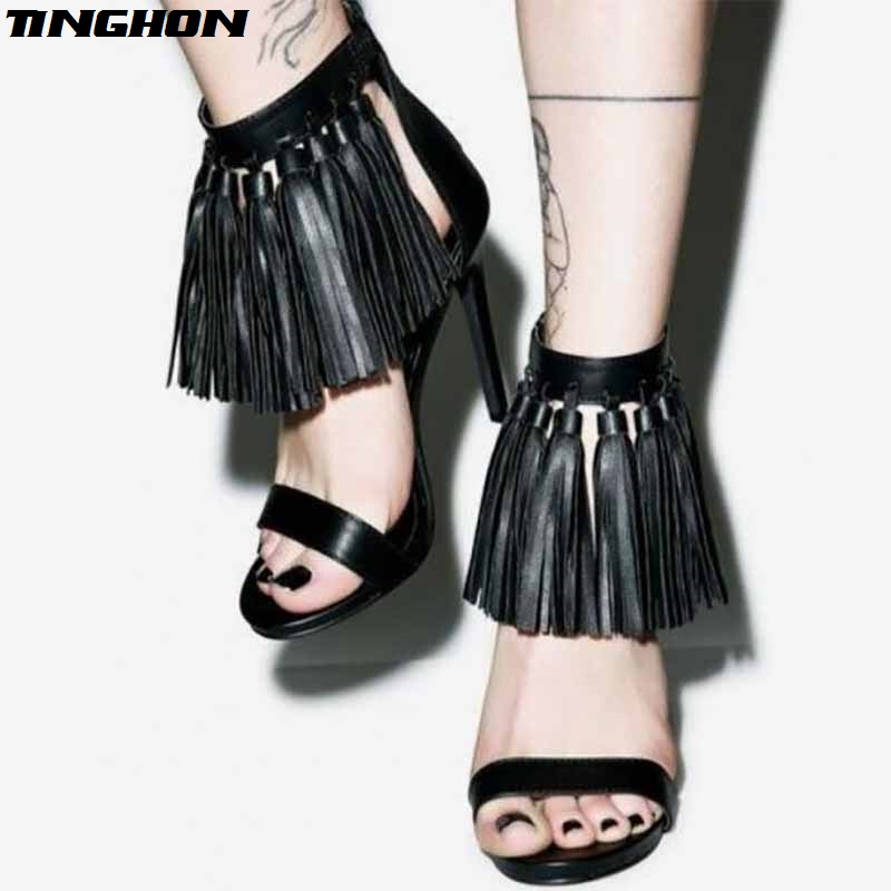 TINGHON Sexy Gladiator Tassel High Heels Open Toe Sandals Women Summer Rome Platform Shoes Ladies Ankle Strap Shoes