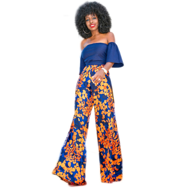 Широкую Ногу Длинные Брюки Для Женщин С Плеча Африканский Стиль свободные Двух Частей Комбинезоны Street Style 2 Шт. Наряд Дамы трико