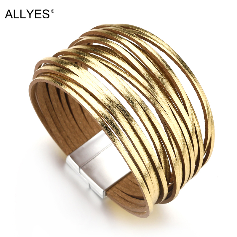 ALLYES Gold & Silver Color Leather Bracelets For Women 2018