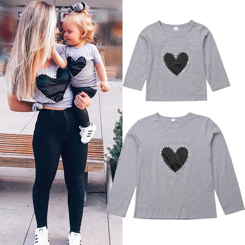 Toddler Boutique Family Matching Clothes Sweatshirt Sweater Women Girl Mother & Daughter Casual Heart Tops Blouse