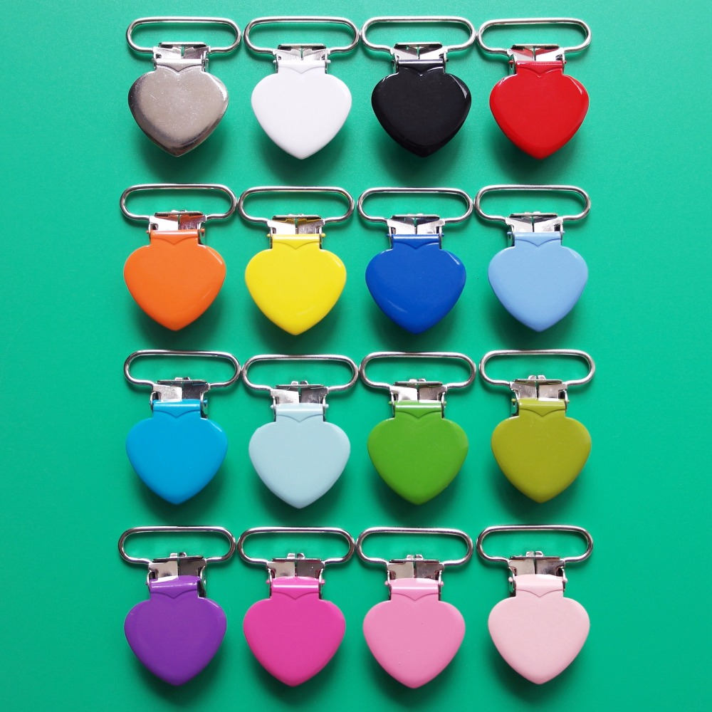 1 25MM Baby Pacifier Clip Holder Enamel Heart Shape Metal Suspender Clips Dummy Soother Nipple Bib