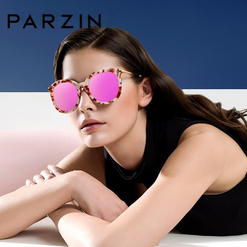 PARZIN Brand Polarized Women Sunglasses Classic Retro Plastic Titanium Big Frame Colors Lens Shield Anti UV400