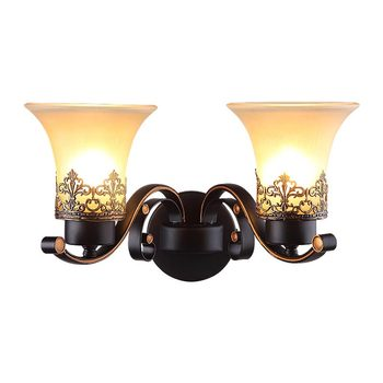 Nordic Glass Lampshade Wall Lamp Sconce Vintage Bedroom Kitchen Stair Light Fixtures Black Iron Home Lighting E27 220V For Loft