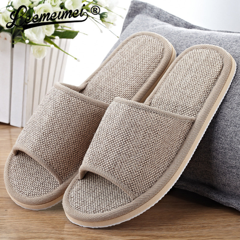 Leemeimei Natural Flax Home Slippers Indoor Floor Summer