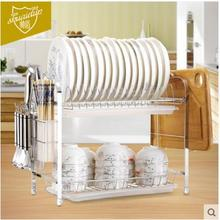 Bowl rack and water rack 2 layers household goods to receive air wash and dish tray table kitchen rack kitchen rack water table three layers show gum shelves lipstick