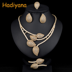 Hadiyana African 4pcs Bridal Jewelry Sets New Dubai Gold Jewelry Sets For Women Nigeria Wedding Party Accessories Design 1536W