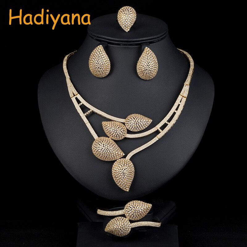 Hadiyana African 4pcs Bridal Zirconia Jewelry Sets For Women Party, Luxury Dubai Nigeria CZ Crystal Wedding Jewelry Sets 1536W