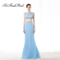 Vestido Largo O Neck With Beading Crop Top Mermaid Long Formal Elegant Dresses Women Evening Party Two 2 Prom Dress