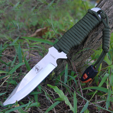 One-batch Forming Diving knife Survival Tactical Straight Knife Fixed Blade Knife Handle Binding Rope