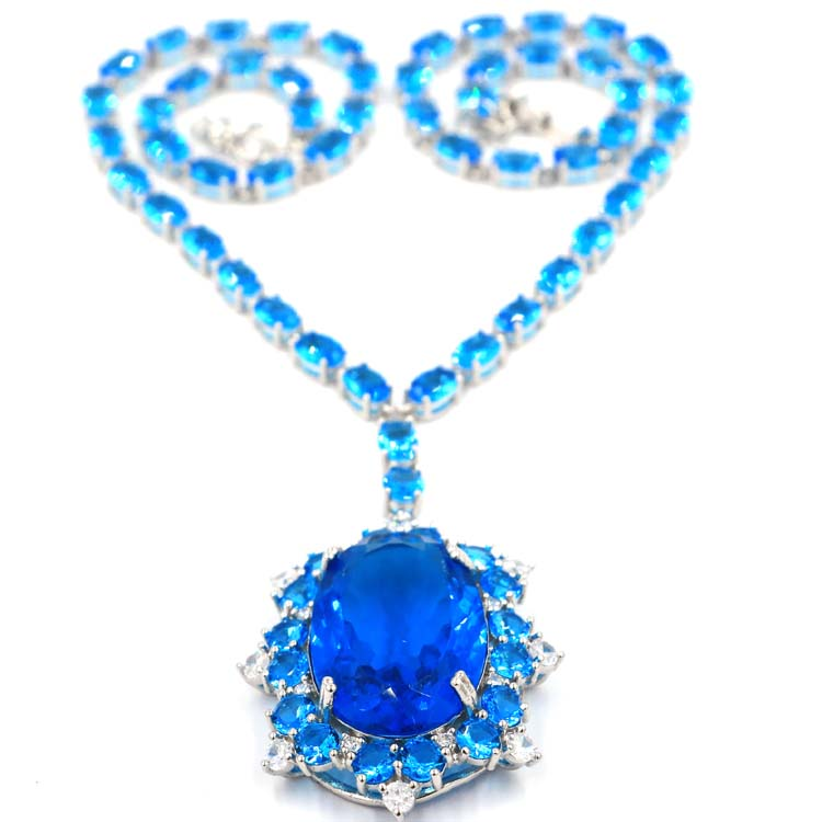 Deluxe Long Paris Blue Topaz White CZ Ladies Present Silver Necklace 18 0 18 5in 66x37mm