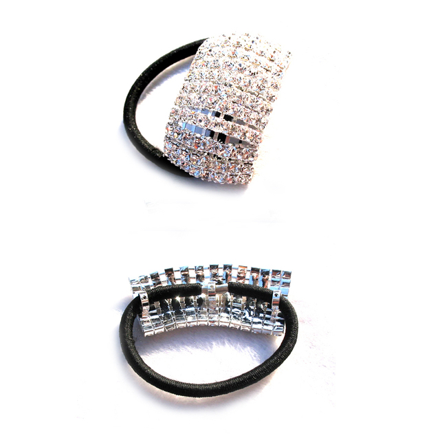 Wholesale silver rhinestone 50x25mm arched charm hair ponytail holder band  jewelry with quality elastic band 3pcsx c0d352e5e571