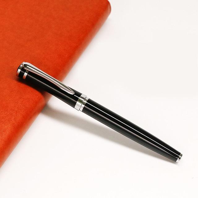 Классическая черная ручка-роллербол серебряный зажим тонкая точка 0,5 мм черные чернила деловые офисные ручки для подписи школьные офисные ...