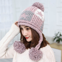 XIANXIANQING Novelty Lady S Beanie Cap Winter Solid Hats For Women Knitting Hats Womens Star Pattern