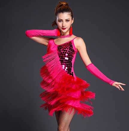 Latin Dance Dresses Special Offer Latin Dance Dress Women Latin Dance Costume Latin Salsa Dresses Fringe Sequins flamengo Dress