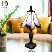 TUDA 17X33cm Free Shipping Tiffany Style Table Lamp Retro Resin Base Table Lamp Stained Glass Lampshade