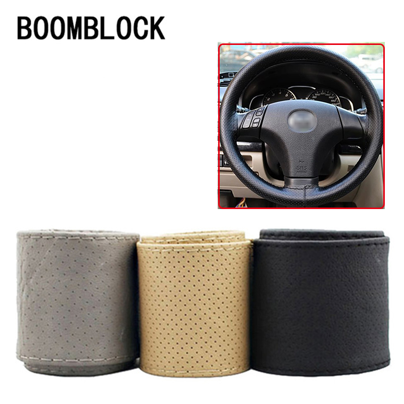 1Pc Car steering wheel cover Genuine Leather Hand stitching for Opel Insignia VW Golf 4 7 5 MK4 Peugeot 206 207 208 508 Touareg