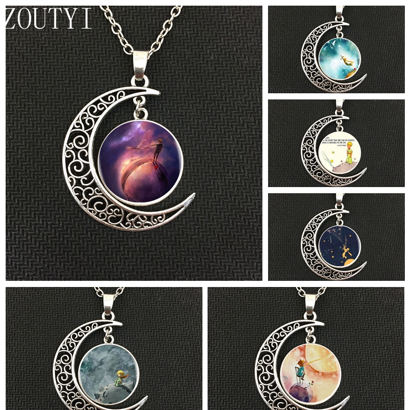 2018 / stylish hot new charm of the little prince moon pendant necklace, men and women wear necklaces.