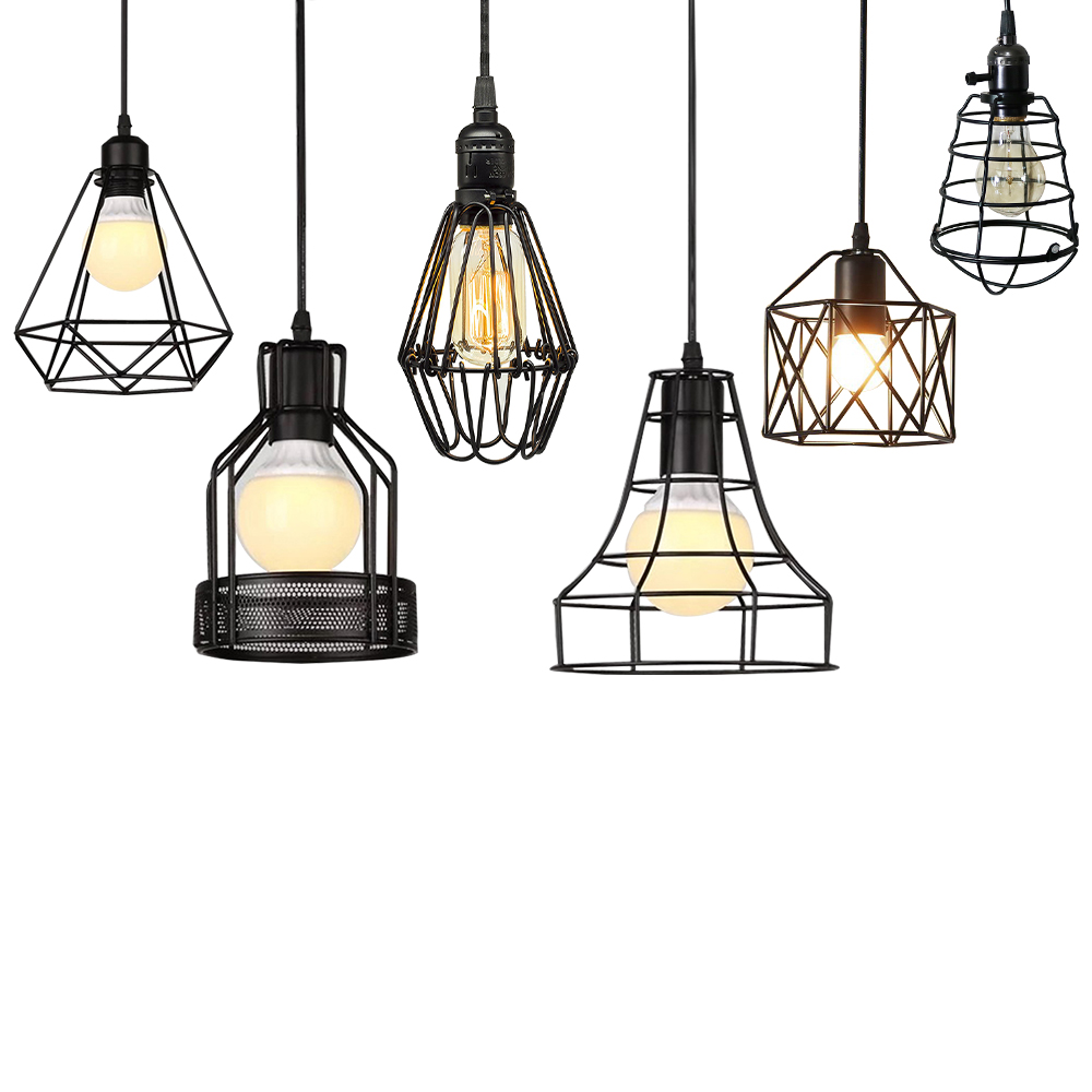 Metal Chandelier Retro E27 Edison Ceiling Light Black